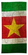 Grunge Suriname Flag Beach Towel