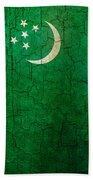 Grunge Turkmenistan Flag Beach Towel