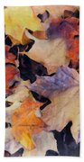 Grungy Autumn Leaves Beach Towel