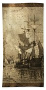 Grungy Historic Seaport Schooner Beach Towel by John Stephens