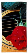 Guitar With Single Red Rose Beach Towel