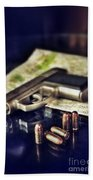 Gun With Bullets And Map Beach Towel by Jill Battaglia