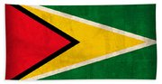 Guyana Flag Vintage Distressed Finish Beach Towel
