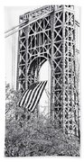 Gw Bridge American Flag In Black And White Beach Towel