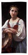 Gypsy Girl With A Basque Drum Beach Sheet