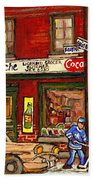 H. Piche Grocery - Goosevillage -paintings Of Montreal History- Neighborhood Boys Play Street Hockey Beach Towel