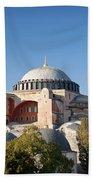 Hagia Sophia Mosque Landmark In Instanbul Turkey Beach Towel