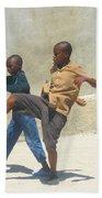 Haitian Boys Playing Soccer Beach Towel