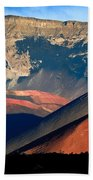Haleakala Cinder Cones Lit From The Sunrise Within The Crater Beach Towel