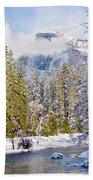 Half Dome And The Merced River Beach Towel by Bill Gallagher