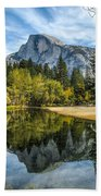 Half Dome Reflected In The Merced River Beach Sheet