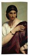 Half-length Portrait Of A Roman Woman Beach Towel