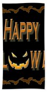 Halloween Bat Border Beach Towel
