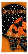 Halloween Black Cat Cupcake 2 Beach Towel