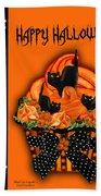 Halloween Black Cat Cupcake 3 Beach Towel