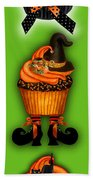 Halloween Cupcakes - Green Beach Towel