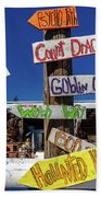 Halloween Signs Pionting In Various Beach Sheet