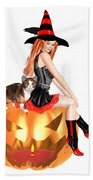 Halloween Witch Nicki With Kitten Beach Sheet