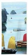 Halong Bay Sails 01 Beach Towel