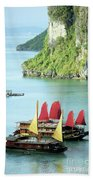 Halong Bay Sails 02 Beach Towel