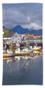 Hamnoy Fishing Village On Lofoten Islands Beach Towel