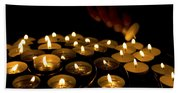 Hand Lighting Candles Beach Towel