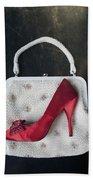 Handbag With Stiletto Beach Towel by Joana Kruse