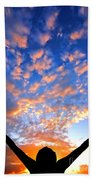 Hands Up To The Sky Showing Happiness Beach Towel by Michal Bednarek
