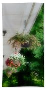 Hanging Flower Baskets On A Porch  Beach Towel