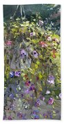 Hanging Flowers From Balcony Beach Towel
