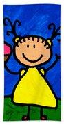 Happi Arte 3 - Little Girl Ice Cream Cone Art Beach Towel by Sharon Cummings