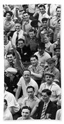 Happy Baseball Fans In The Bleachers At Yankee Stadium. Beach Towel by Underwood Archives