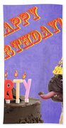 Happy Birthday Card Beach Towel by Edward Fielding