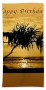 Happy Birthday Golden Sunrise Beach Towel