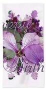 Happy Birthday Greeting Card - Purple Luneria Beach Towel