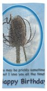 Happy Birthday Greetings - Dried Teasel Thistle Flower Head Beach Towel