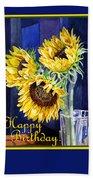 Happy Birthday Happy Sunflowers  Beach Sheet