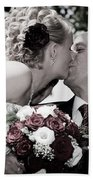 Happy Bride And Groom Kissing Beach Towel