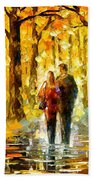 Happy Couple - Palette Knife Oil Painting On Canvas By Leonid Afremov Beach Towel