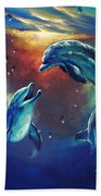 Happy Dolphins Beach Towel by Marco Antonio Aguilar