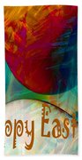 Happy Easter Greeting Card Beach Towel