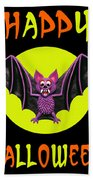 Happy Halloween Bat Beach Towel