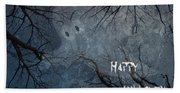 Happy Halloween - Ghost In Trees Beach Towel