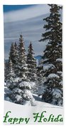Happy Holidays - Winter Trees And Rising Clouds Beach Towel