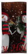Happy Holidays - Christmas - Snowman Collection - Greeting Cards Beach Towel