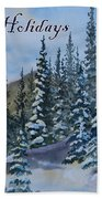 Happy Holidays Forest And Mountains Beach Towel