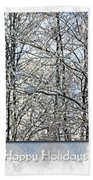 Happy Holidays Greeting - Icicles On Trees Beach Towel