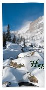 Happy Holidays Snowy Mountain Scene Beach Towel