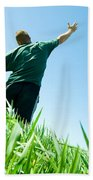 Happy Man On The Summer Field Beach Towel
