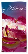 Happy Mother's Day Red Pink White Rose Beach Towel
